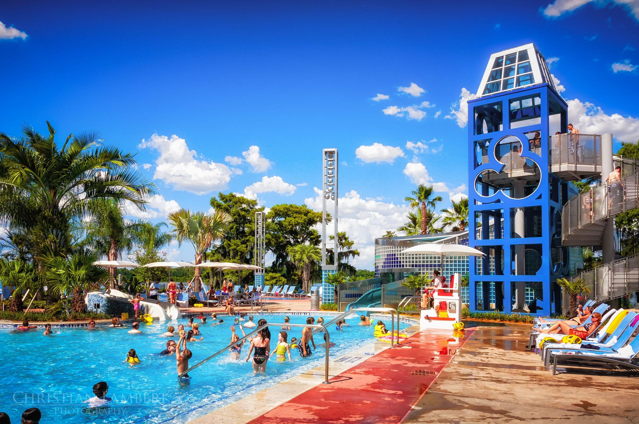 Guests enjoying the pool at Bay Lake Tower at Disney's Contemporary Resort