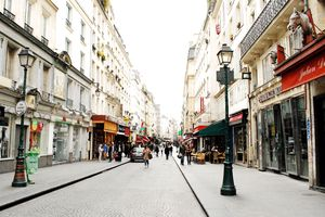Rue Montorgueil is in the smack-center of Paris: but this pedestrian street feels like part of a small village.