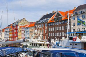 Famous colorful buildings in Denmark