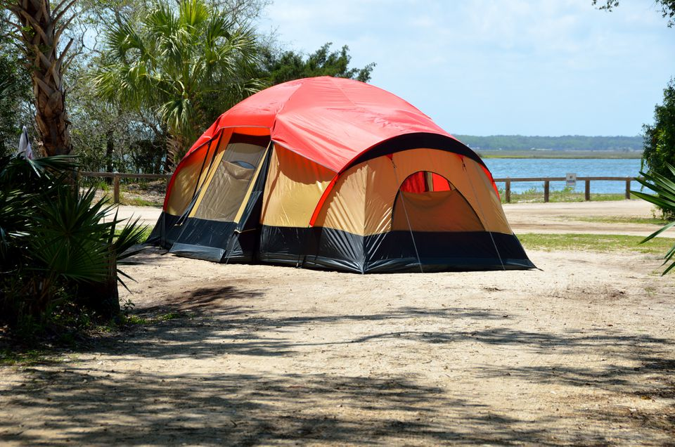 Tent camping along the Tolomoto River at St. Augustine, Florida, USA