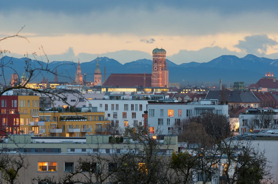 Munich's Skyline and Alps