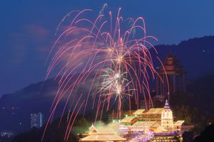 Fireworks over Kek Lok Si Temple for Chinese New Year, Penang