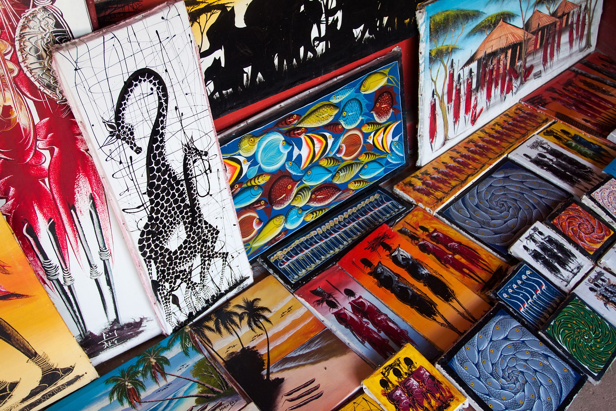 Tingatinga paintings in Tanzania