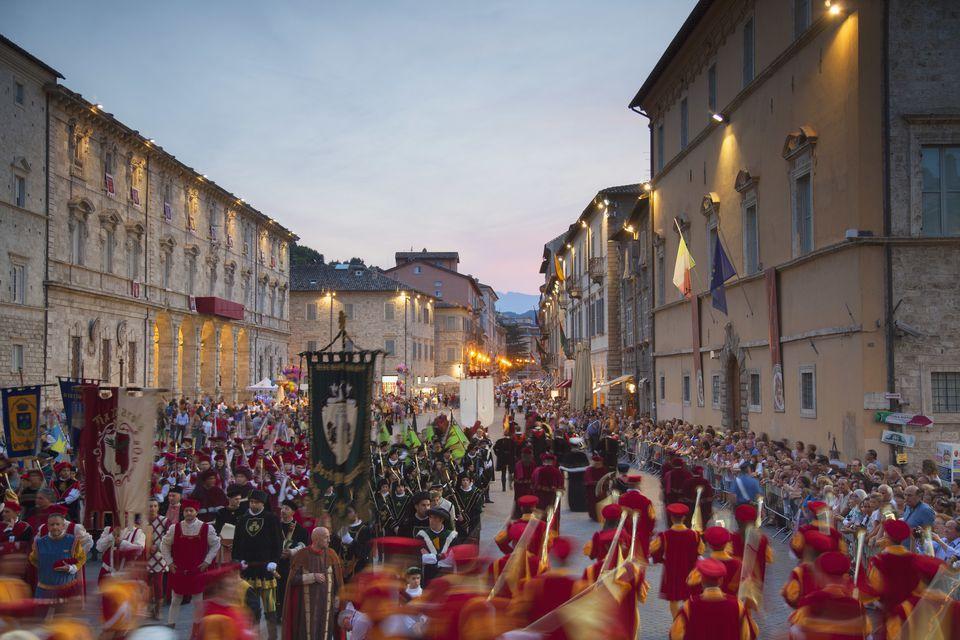 Procession of medieval festival of La Quintana in Piazza Arringo, Ascoli Piceno