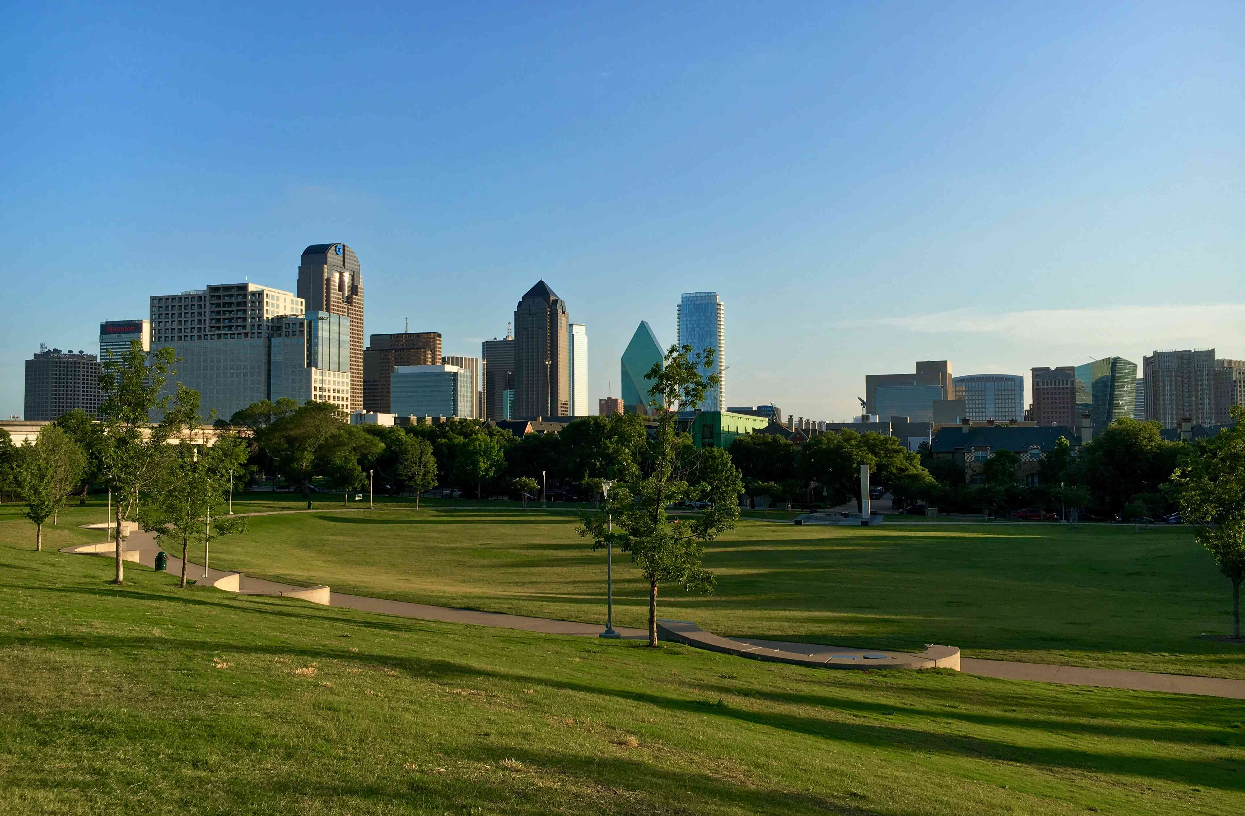 Downtown Dallas skyline as viewed from Griggs Park