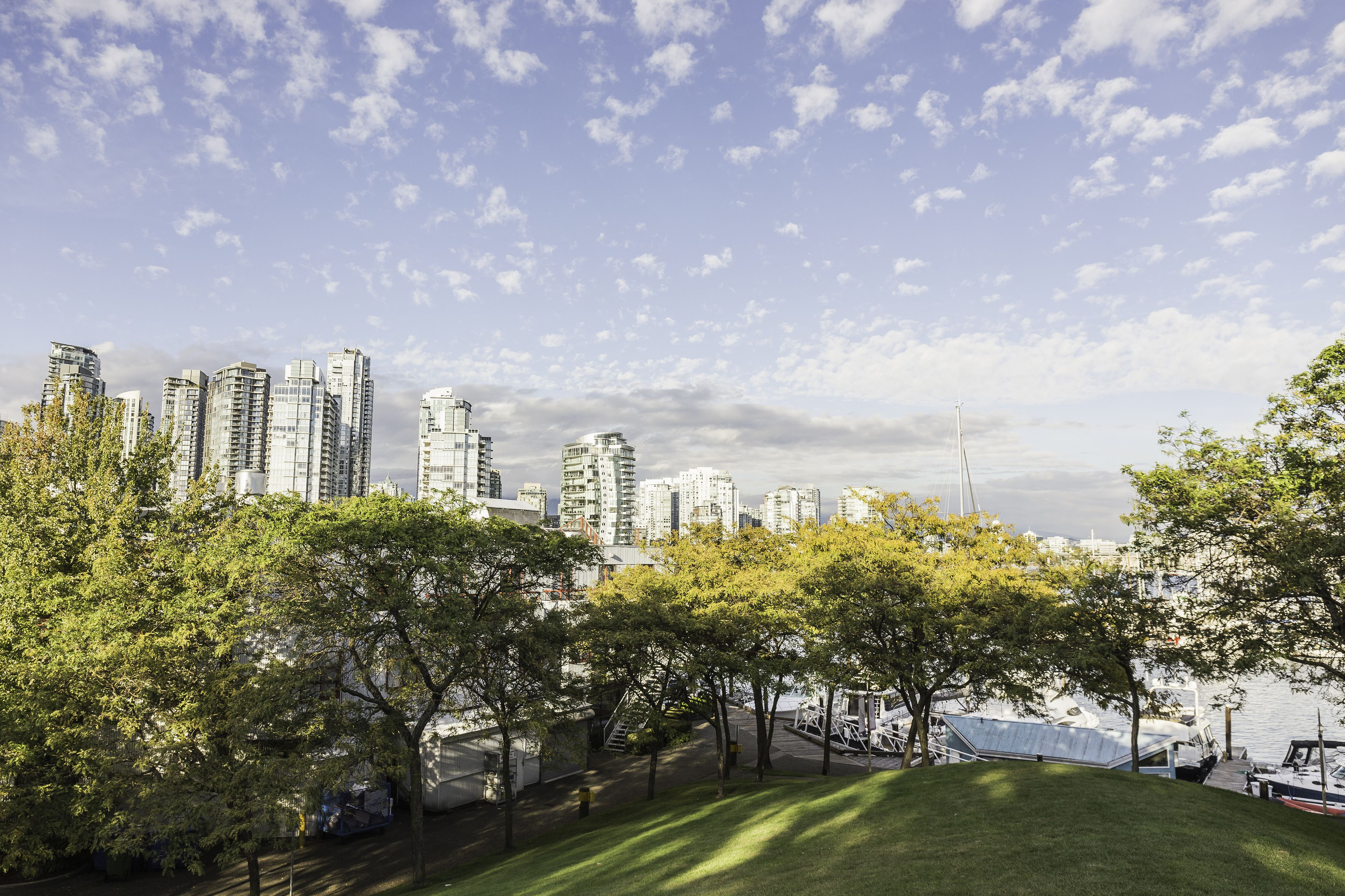 Elevated view of park and city skyline from Granville Island, Vancouver, Canada