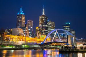 Melbourne cityscape in the night time.