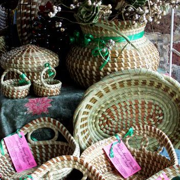 Sweetgrass baskets on display at the City Market on Market Street
