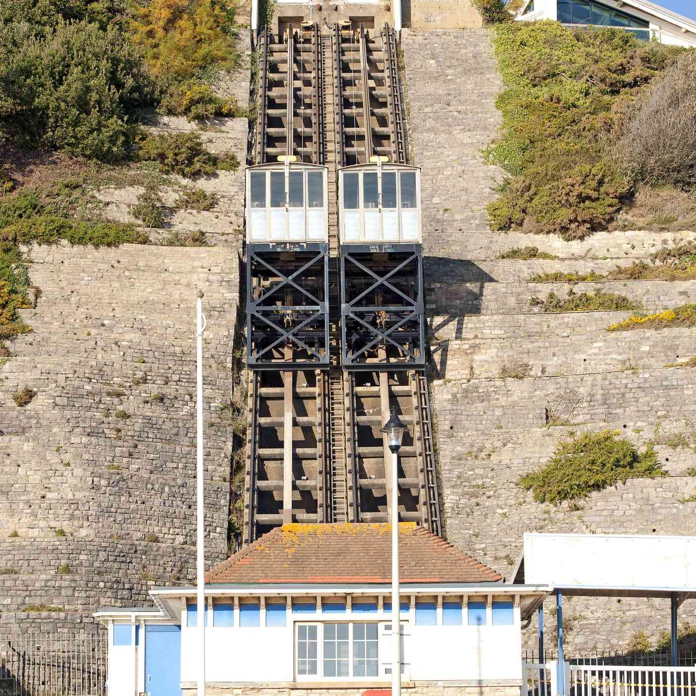 Empty Cliff Lift at onset of winter in Dorset during November