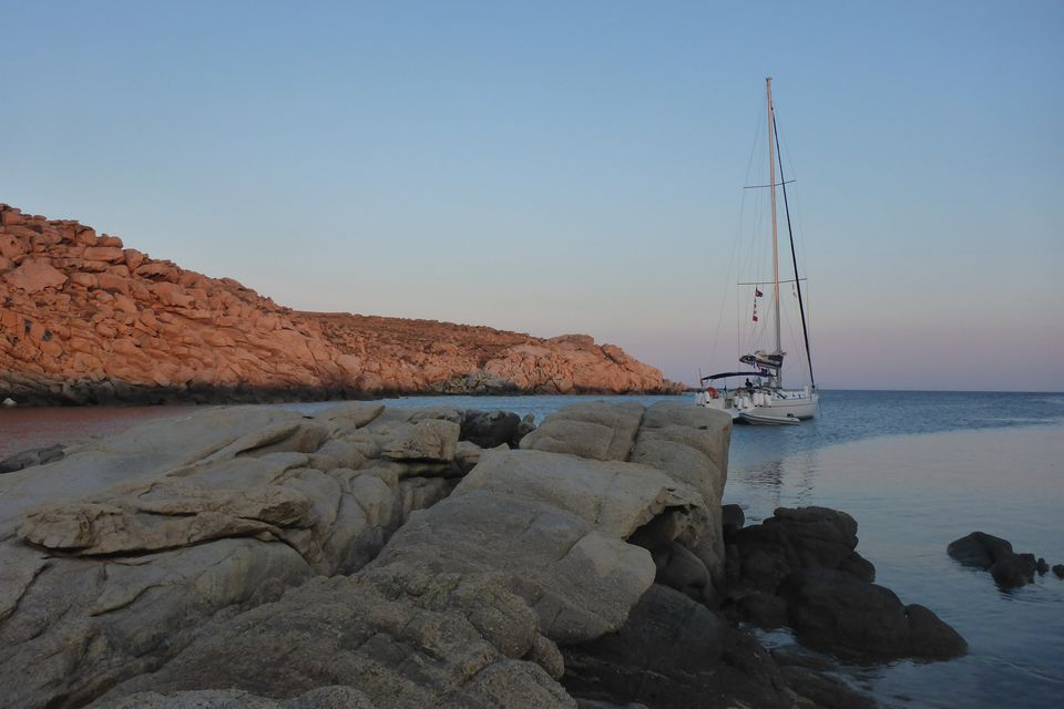 Sailboat Baltra at anchor off the Greek island of Rinia