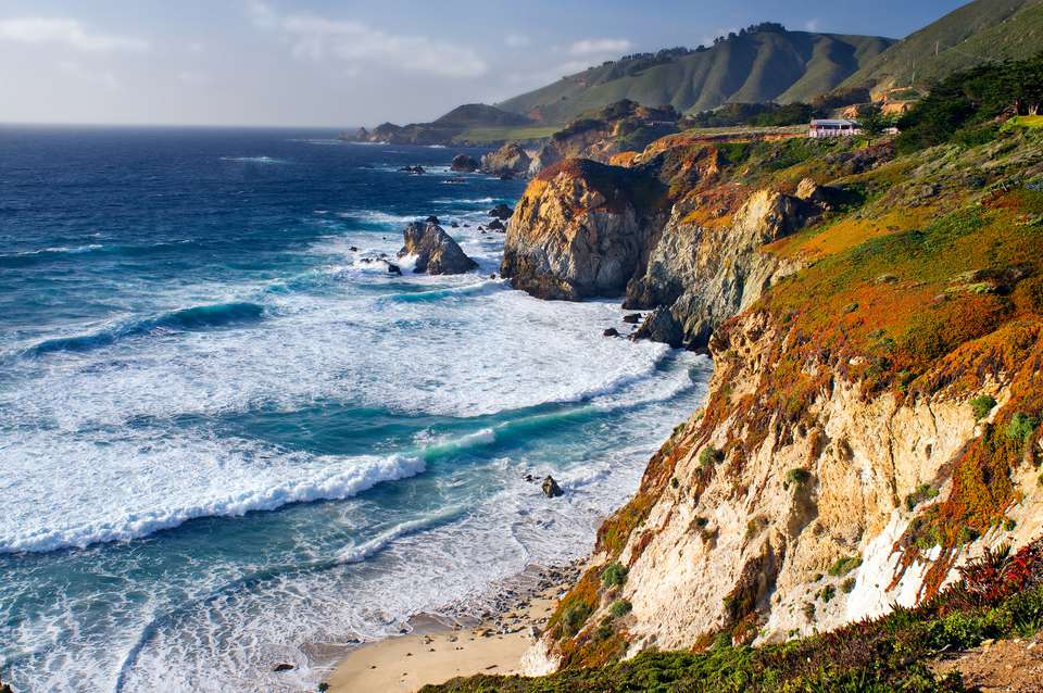 The Pacific Ocean and Santa Lucia Mountains along the coastline in Big Sur, California.