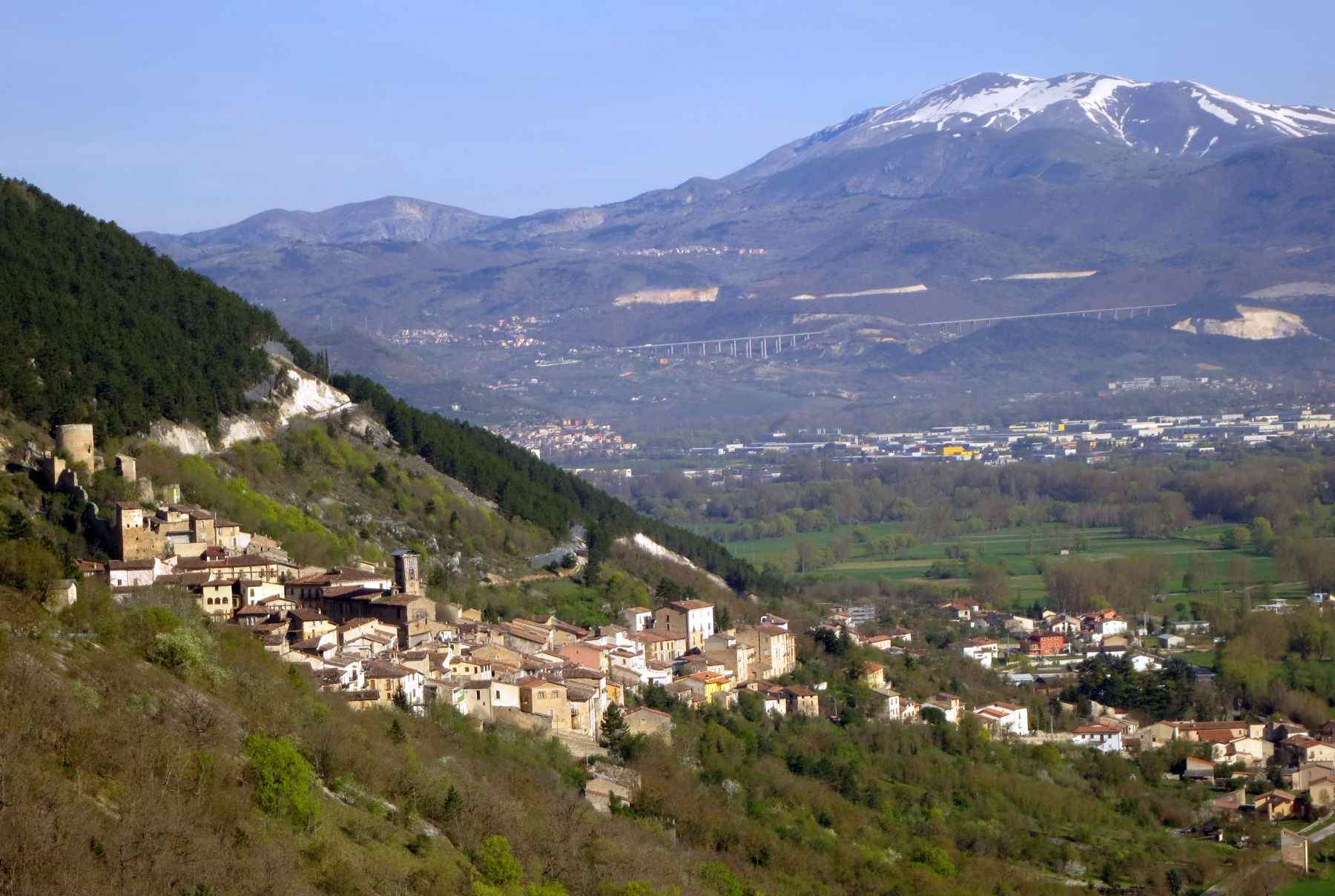 Village of Fossa and Mountains in the Abruzzo