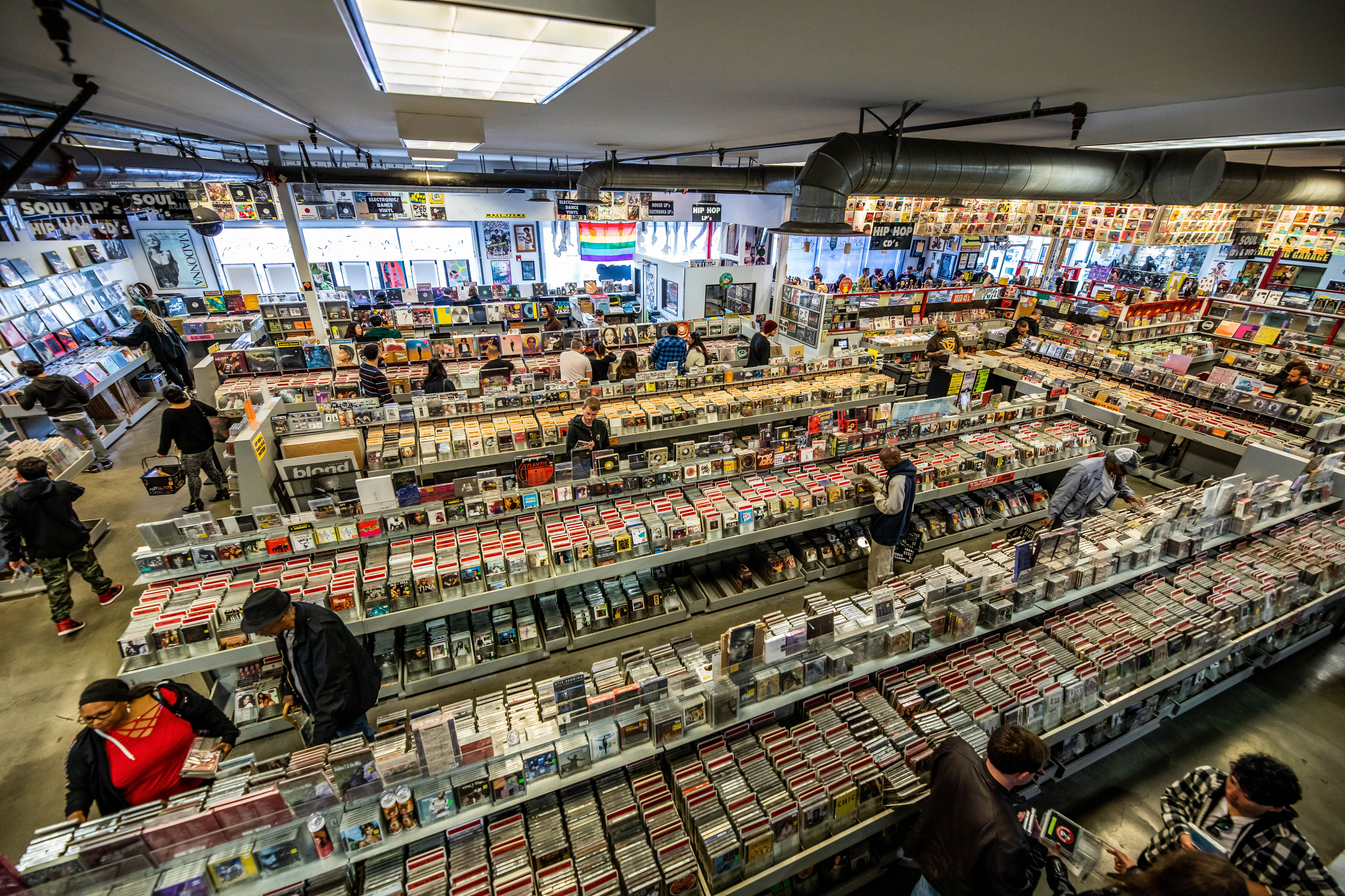 Rows of records being sold in Amoeba Music