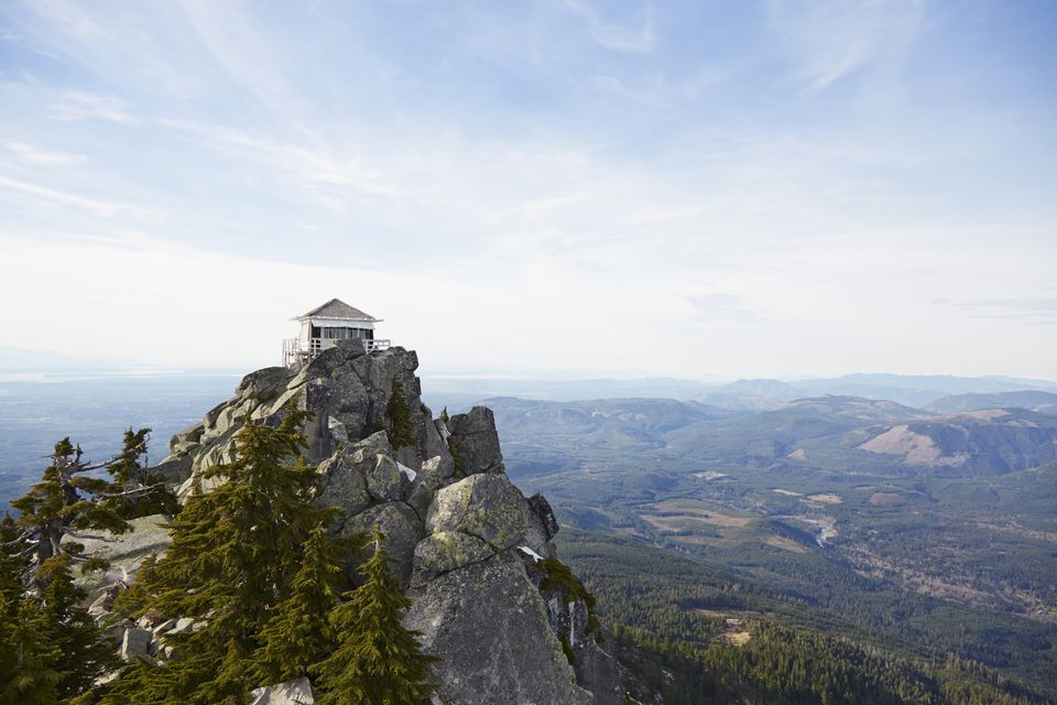 Mt Pilchuck Fire Lookout in remote landscape, Leavenworth, Washington, United States