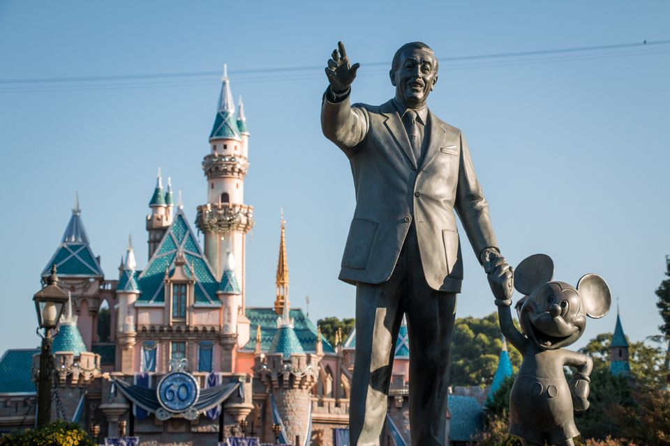 The Partners statue in front of Sleeping Beauty Castle