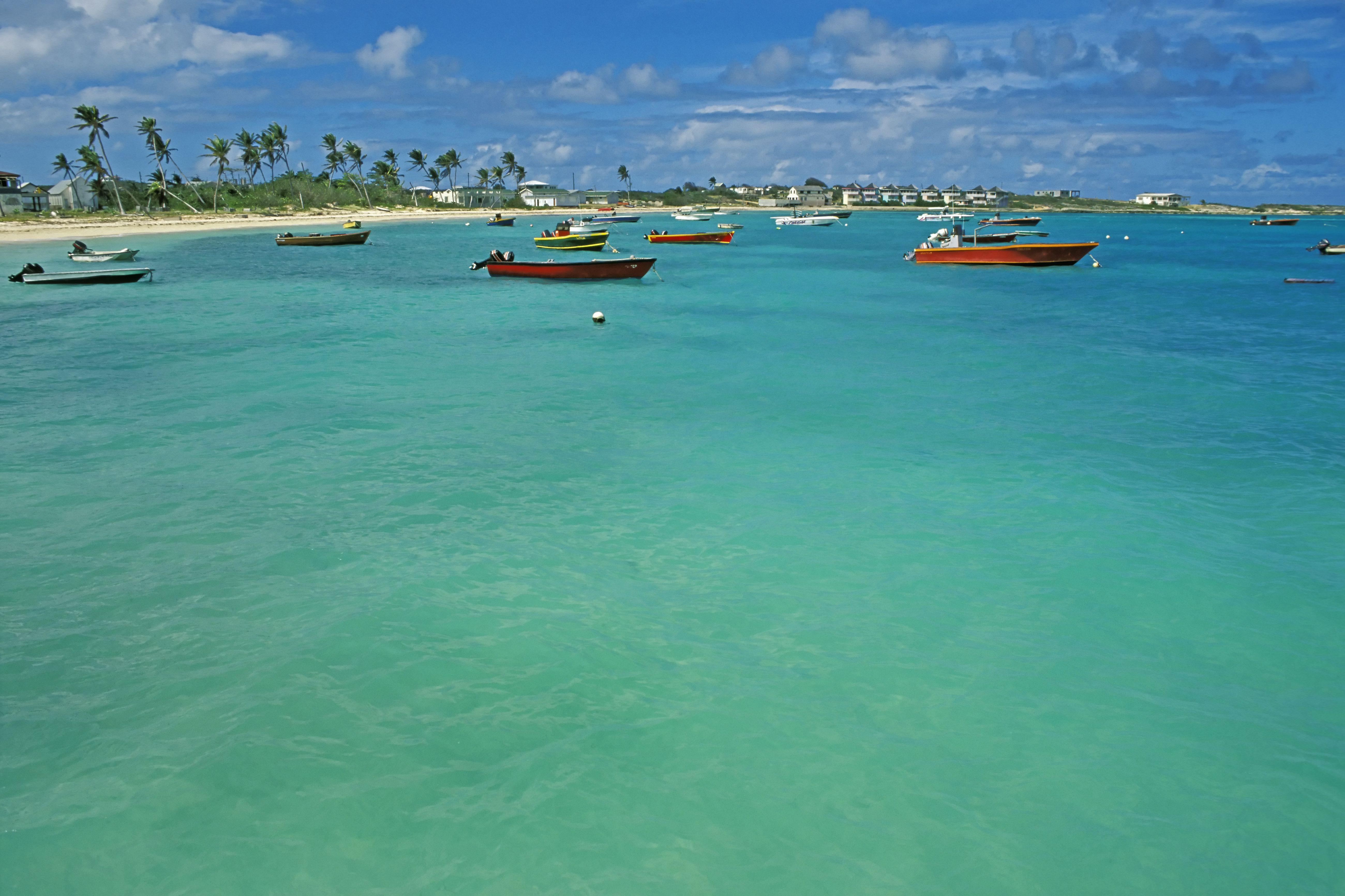 Caribbean, Antilles, Anguilla, Upper Shoal Bay, fishing boats and shore