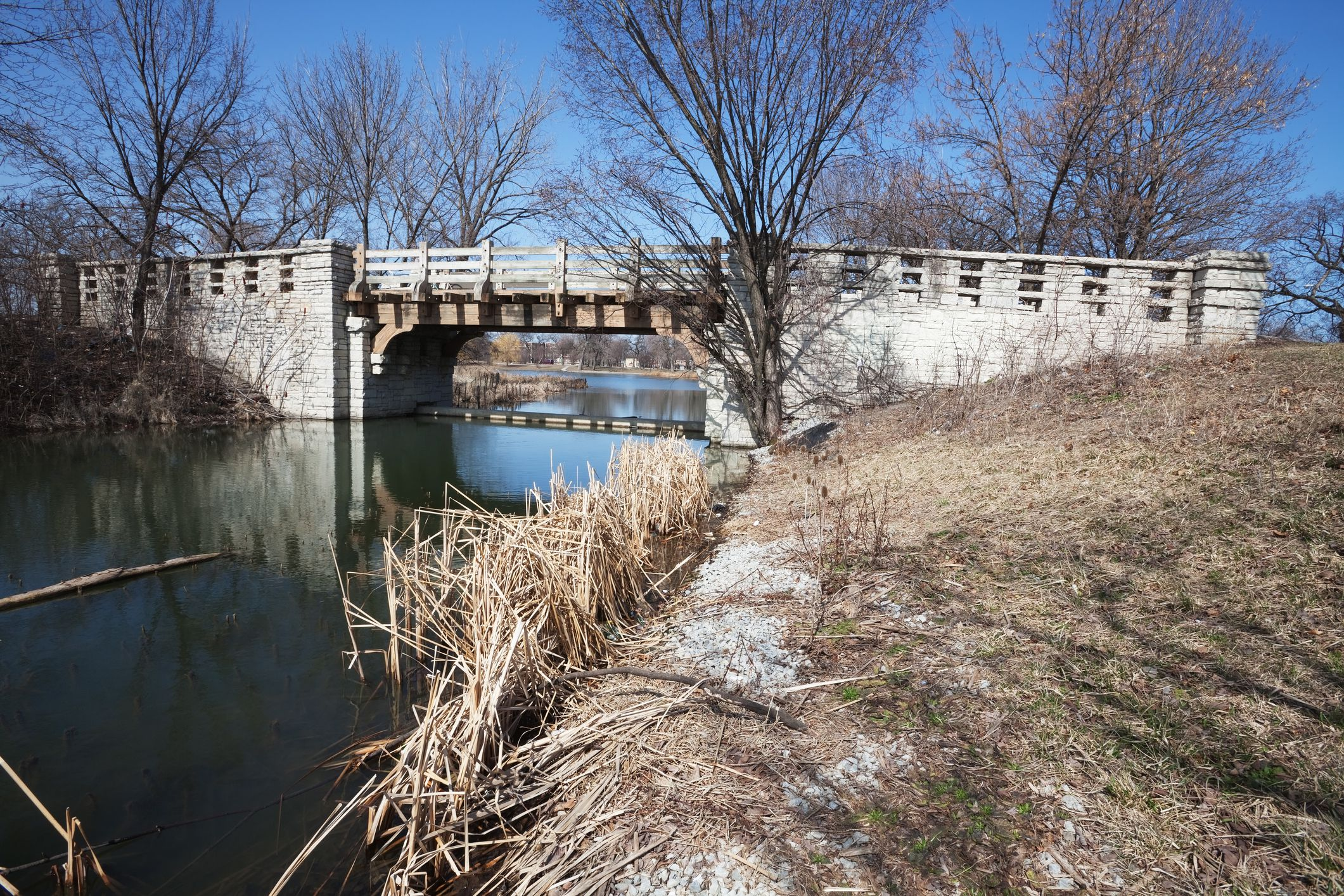 Bridge over a small lake in winter in Chicago