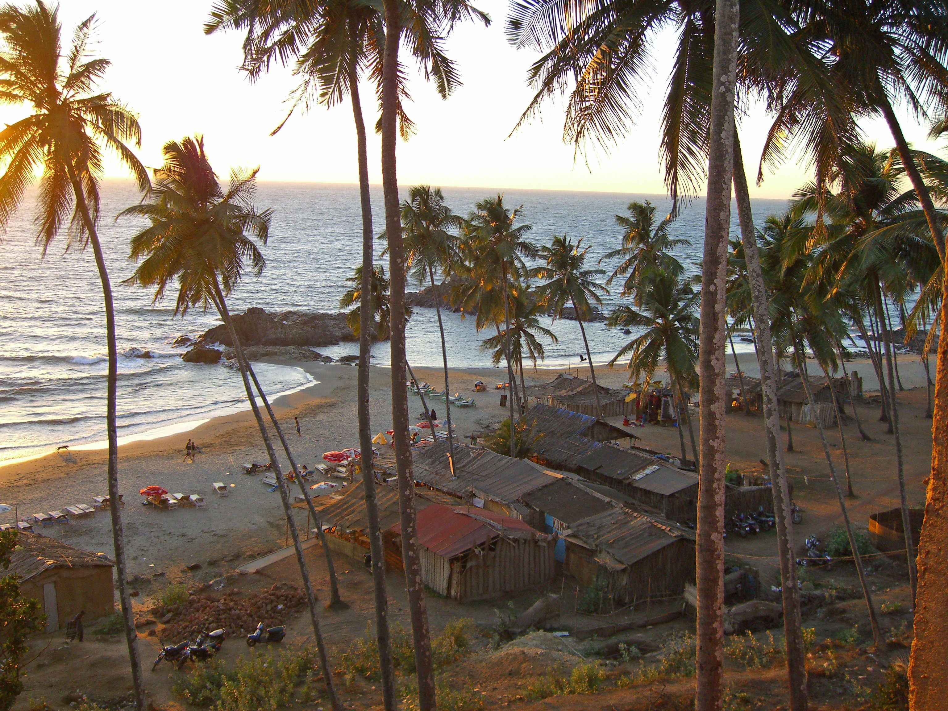 Vagator Beach is popular with backpackers in Goa, India