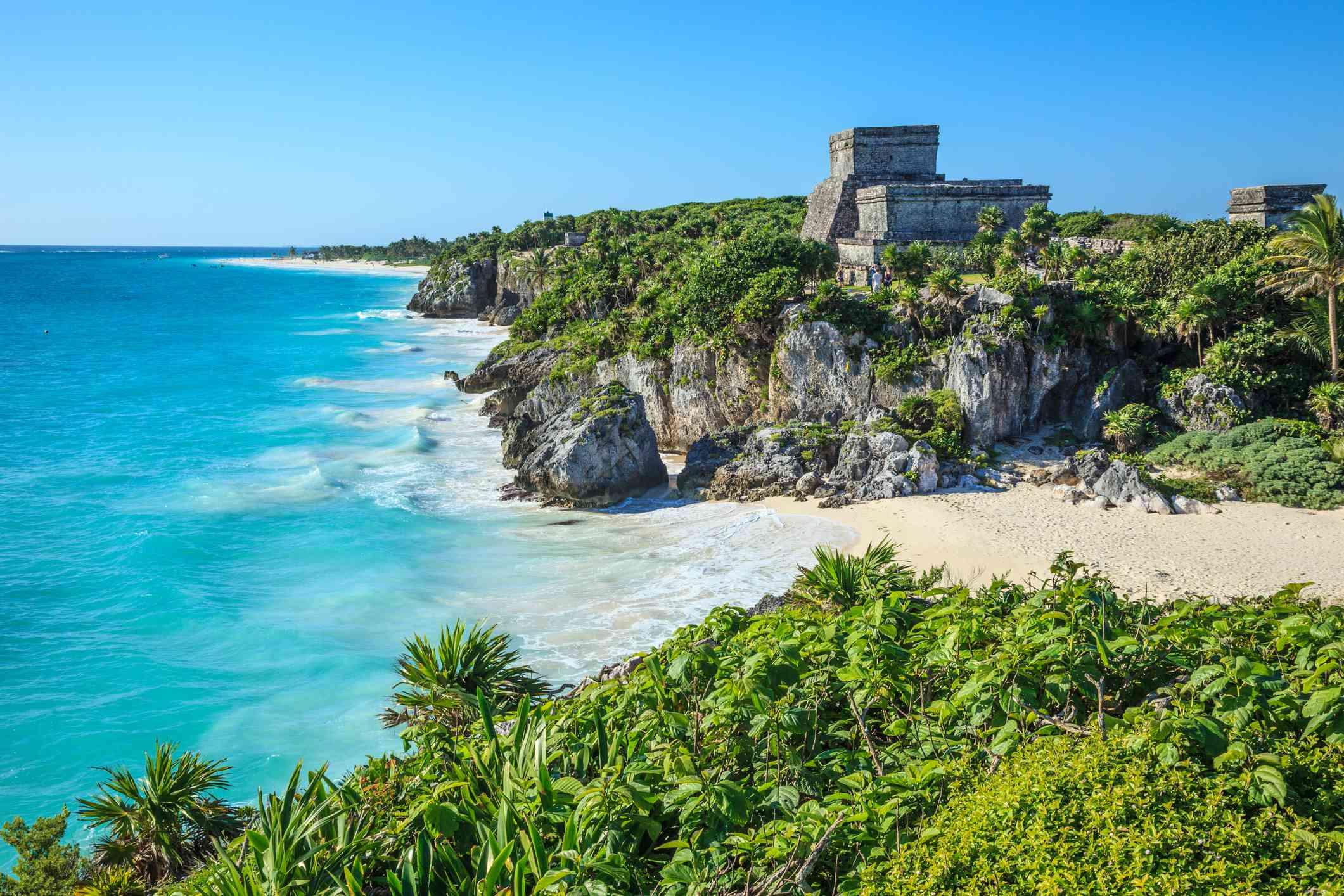 Tulum Mayan Ruins next to Mexican Beach