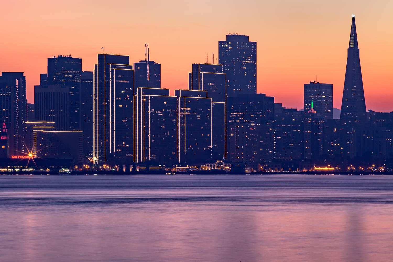 San Francisco Holiday Skyline at Sunset