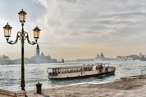 Vaporetto boat passing through Venice
