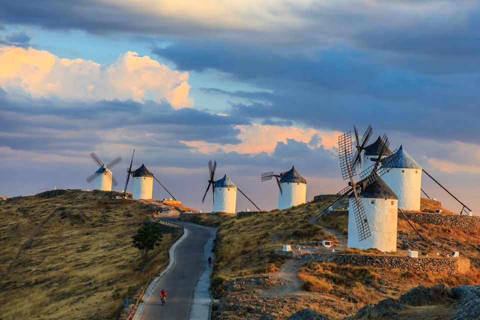 Windmills on hill in Consuegra, Castilla La Mancha, Spain