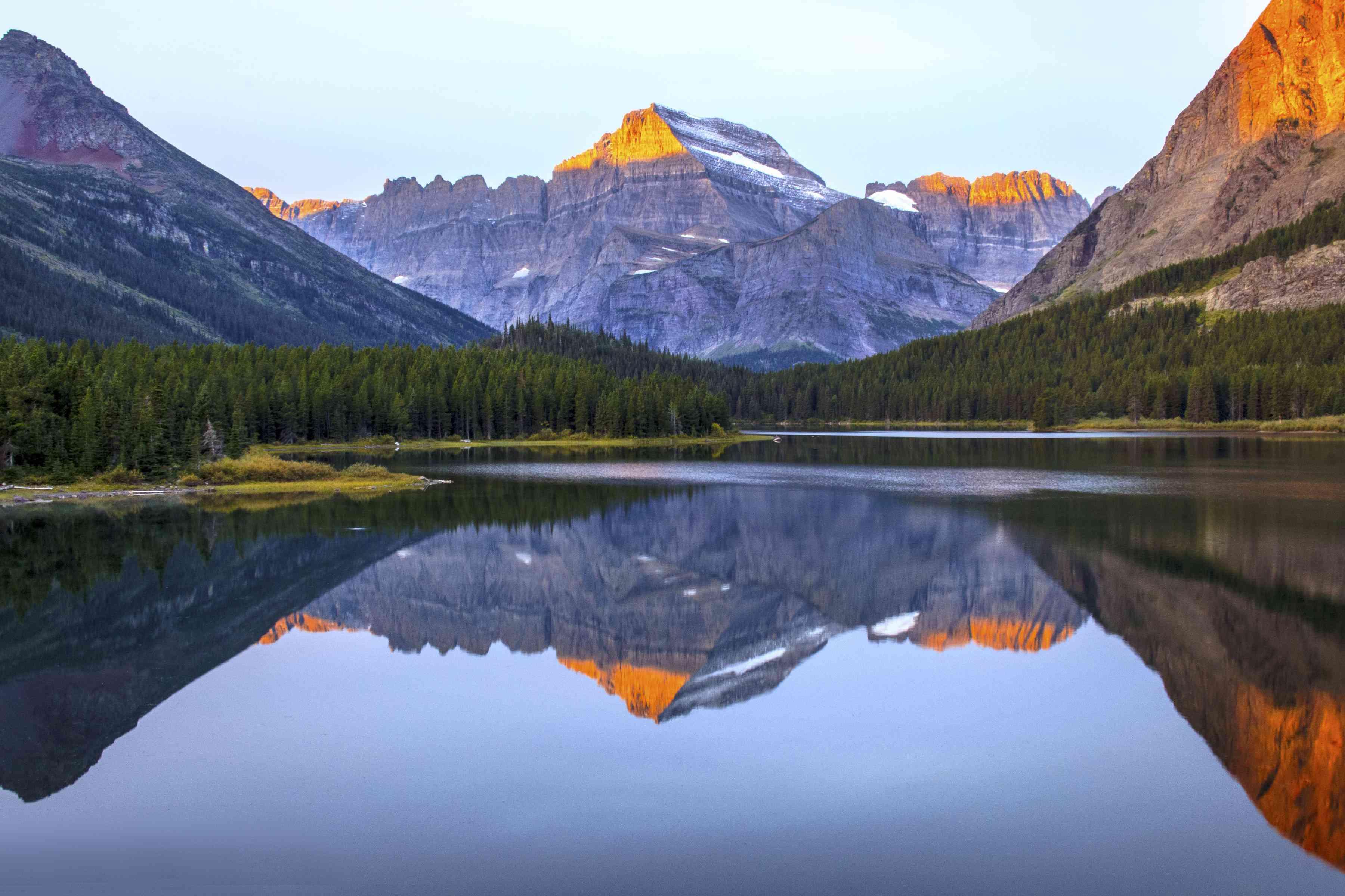 reflecting at sunrise