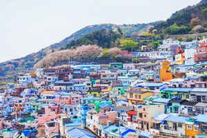 Colorful buildings on a hill at Gamcheon Culture Village, Busan, South Korea