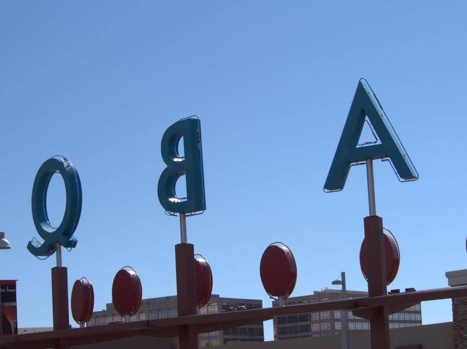 A different angle of the sign in Uptown uptown Albuquerque