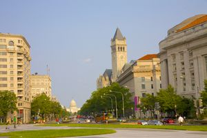 View of office, hotel and government buildings lining Pennsylvania Avenue looking towards the U.S. Capitol