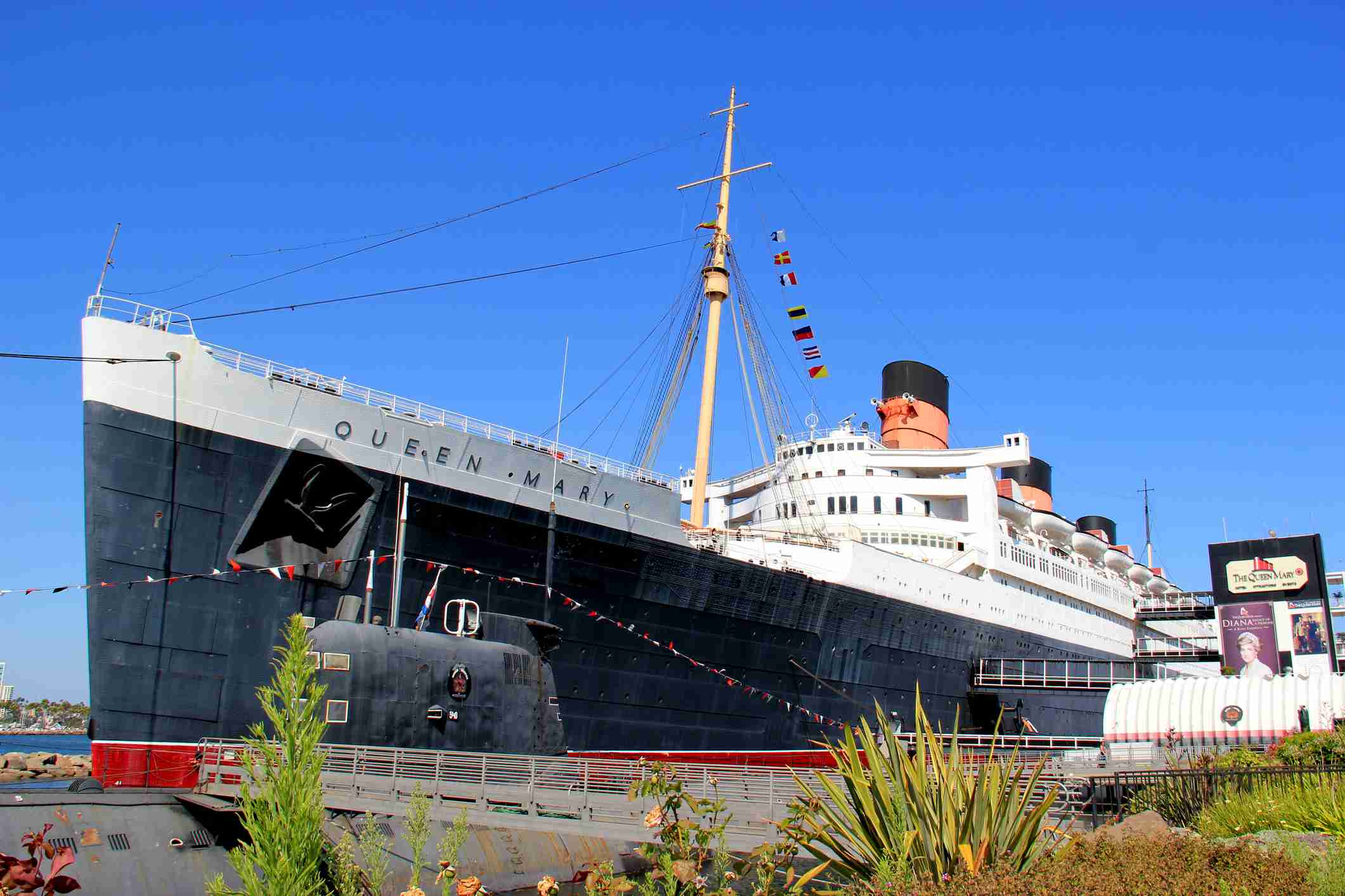 The Queen Mary docked in Long Beach, California