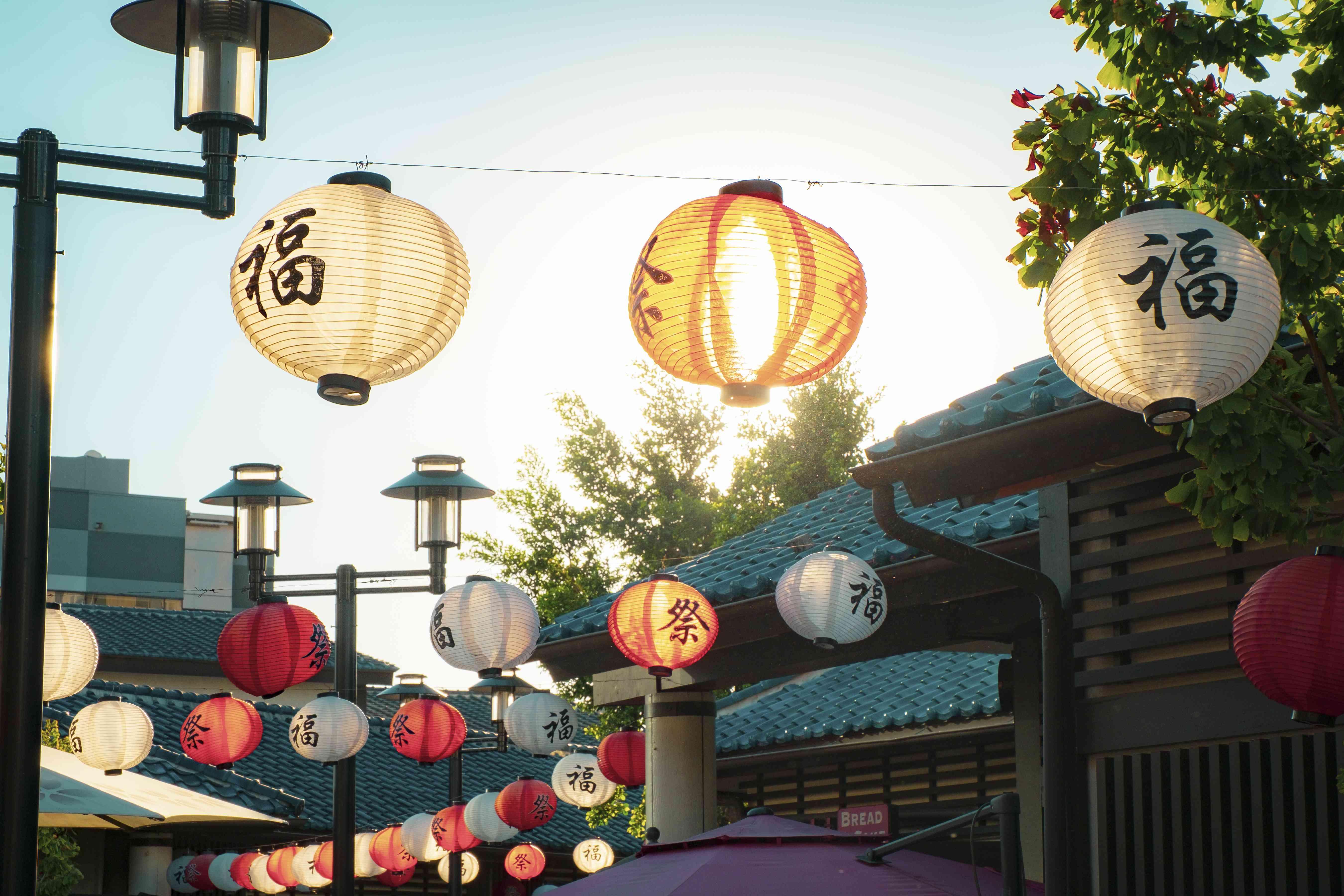 Japanese lanterns in Little Tokyo in Los Angeles