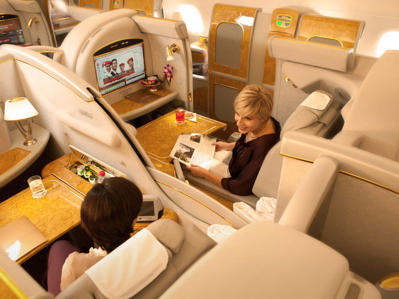 Emirates First Class Suite on airplane