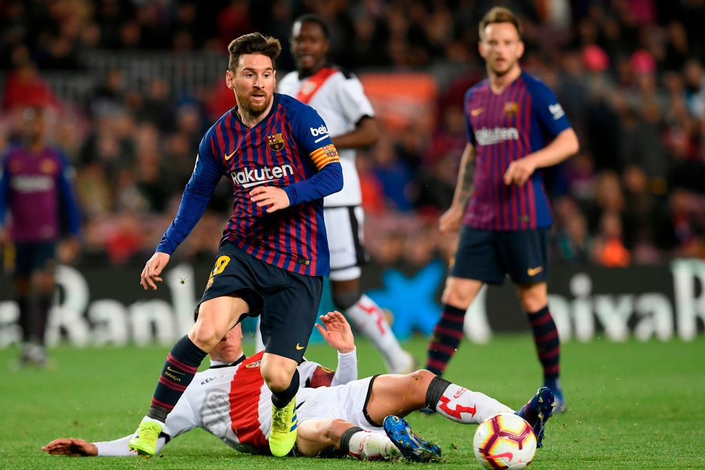 Football match between FC Barcelona and Rayo Vallecano de Madrid at the Camp Nou stadium in Barcelona on March 9, 2019