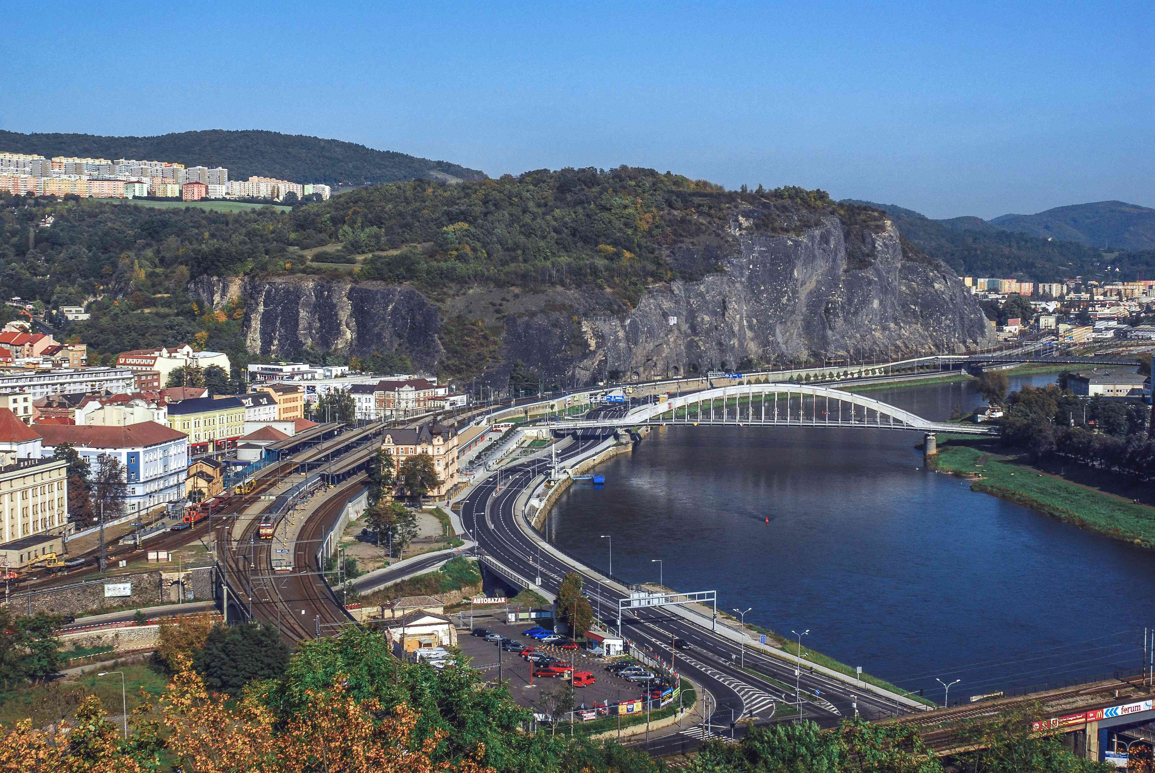View over the train station of Usti nad Labem in the Czech Elbe Valley