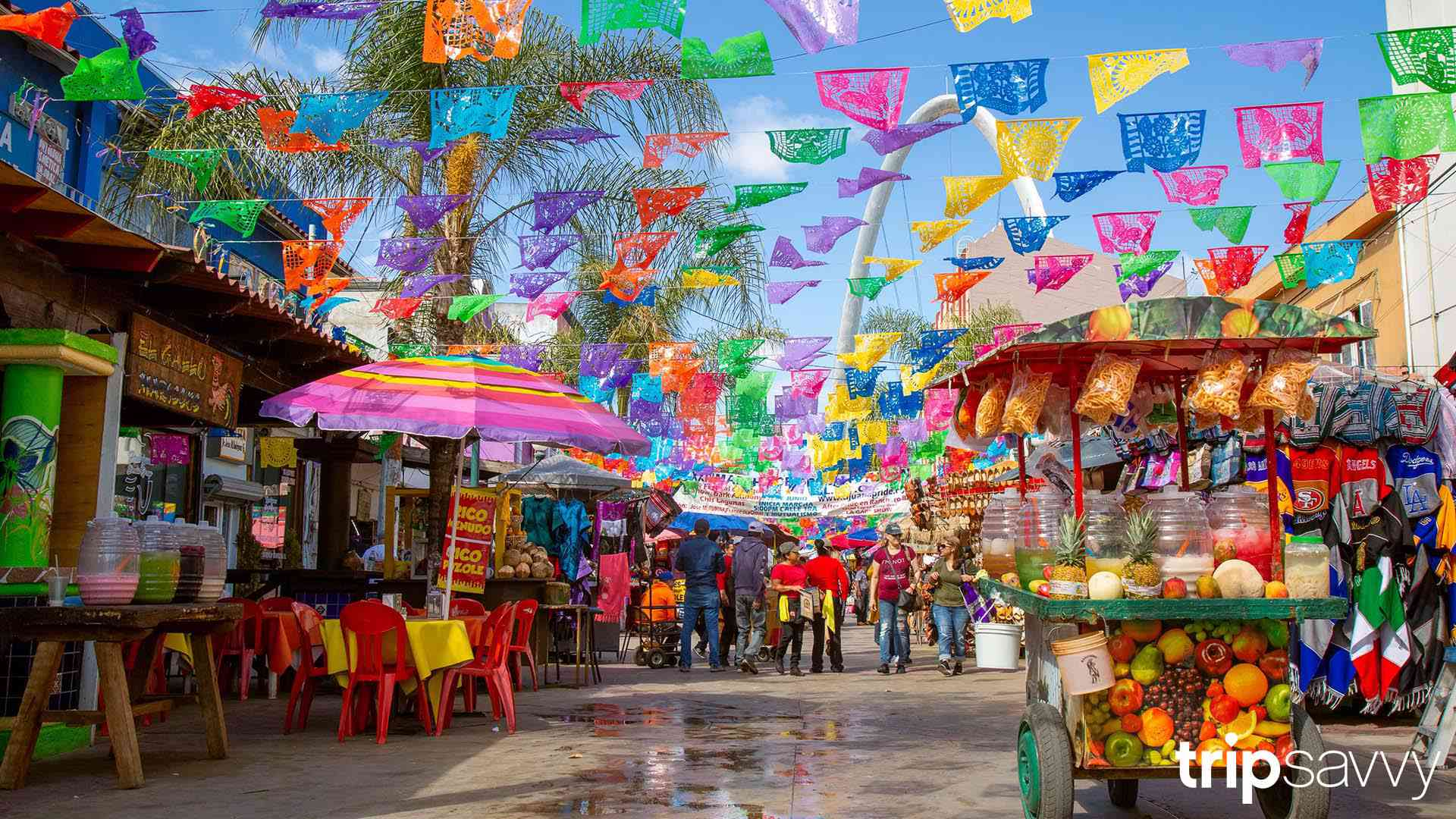 The main plaza in Tijuana with colorful flags overhead