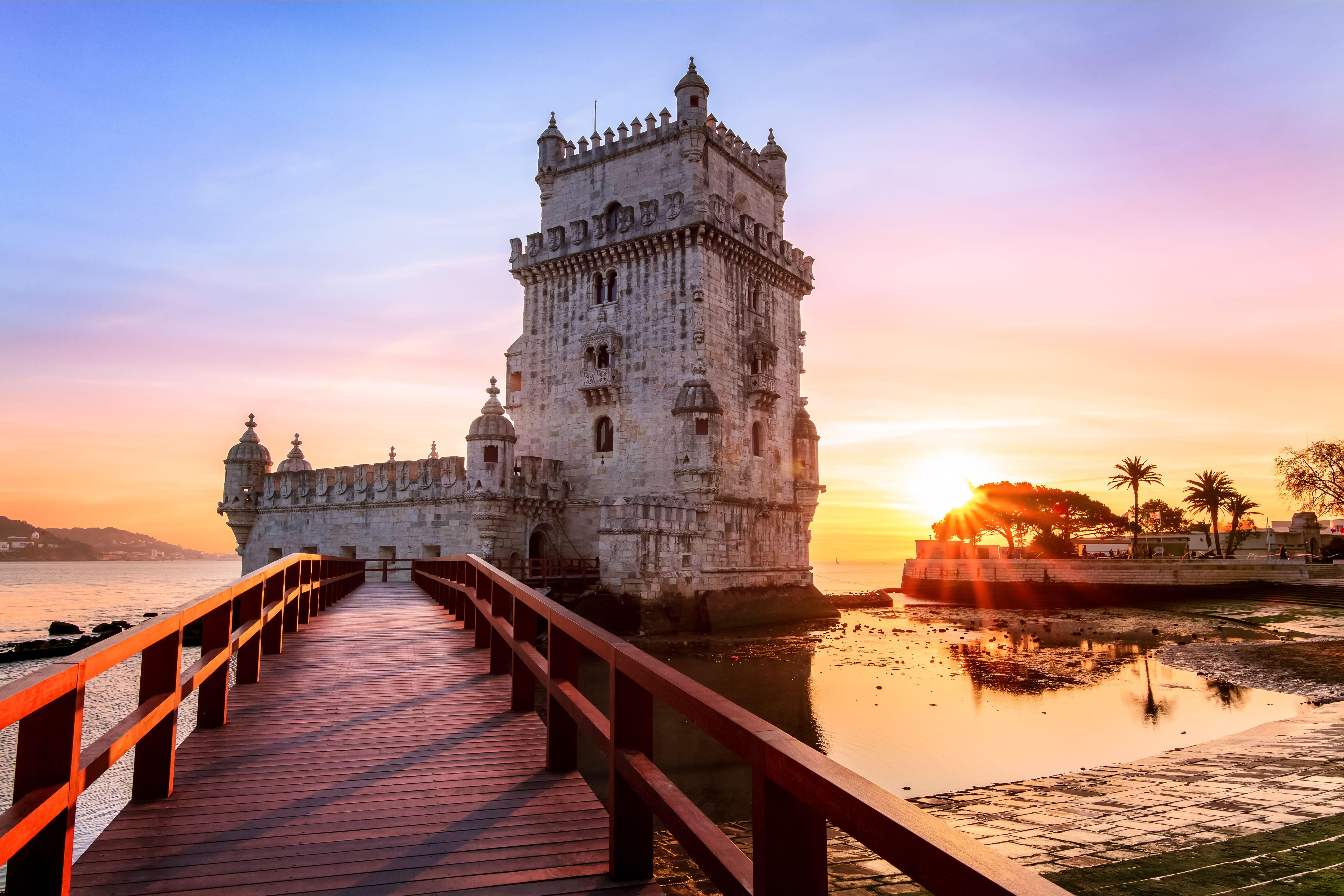 Sunset at Torre Belem, Belem, Lisbon, Portugal