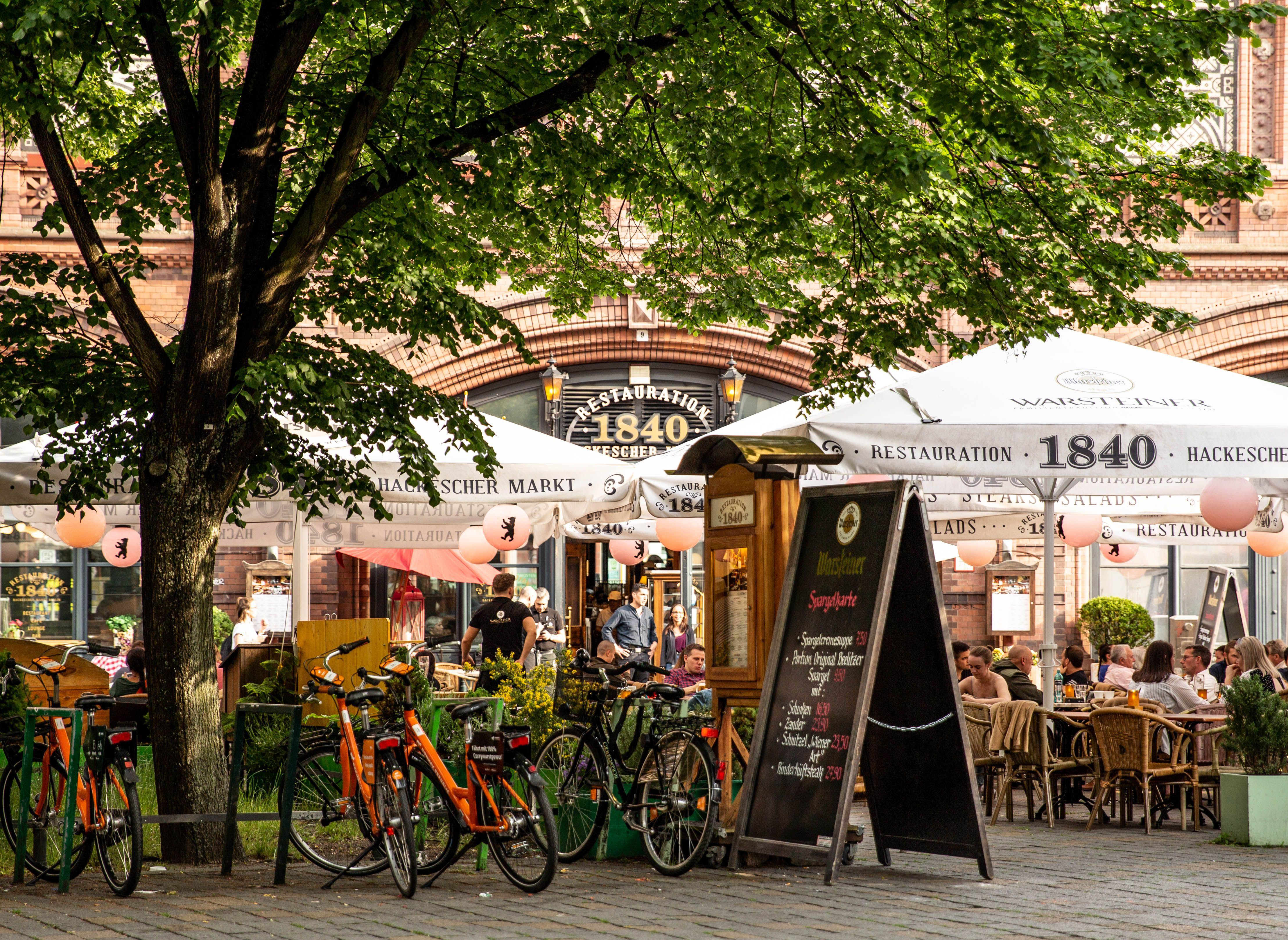 An outdoor beer garden in Hackescher Market