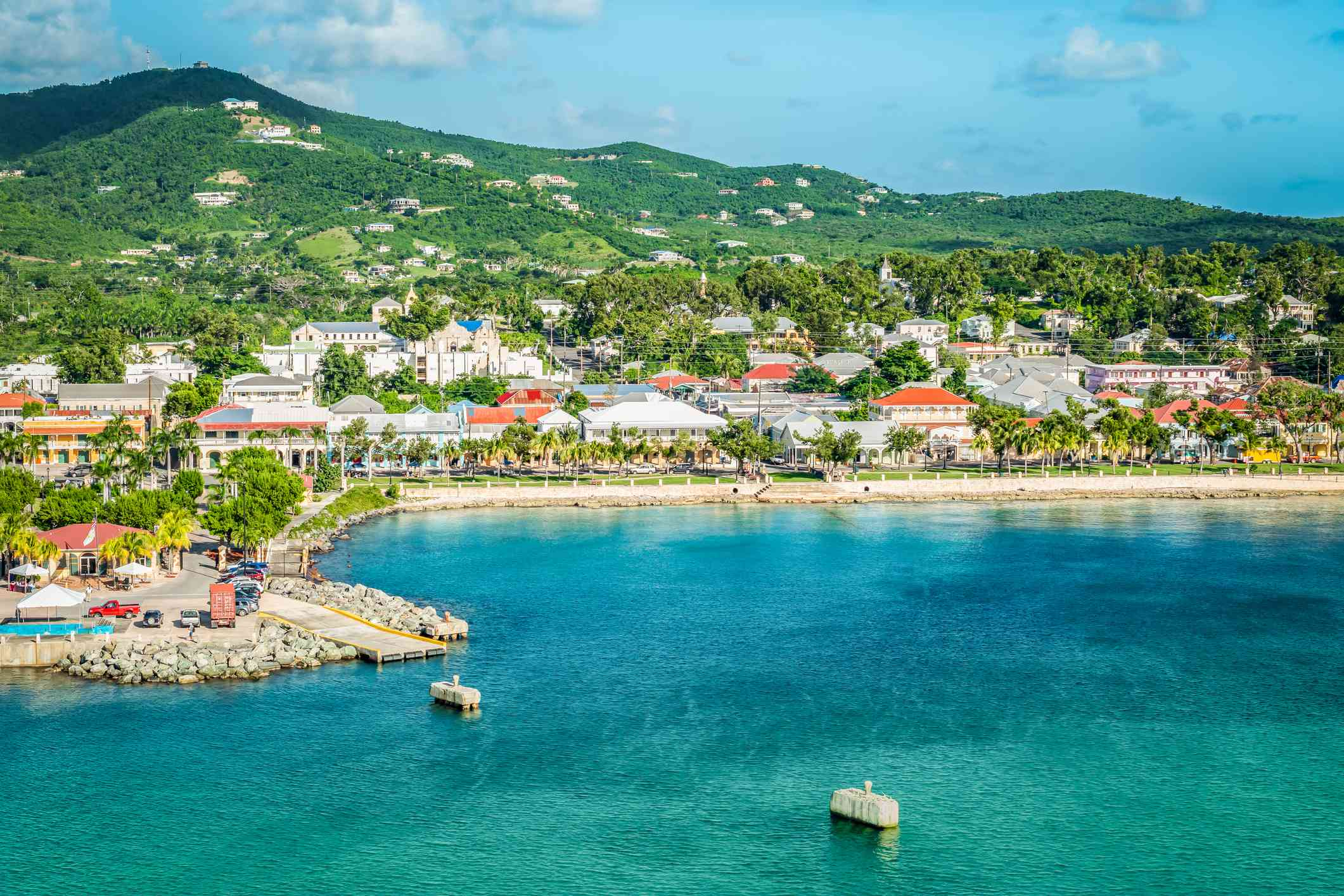 Clear blue waters and buildings around a bay in St. Croix