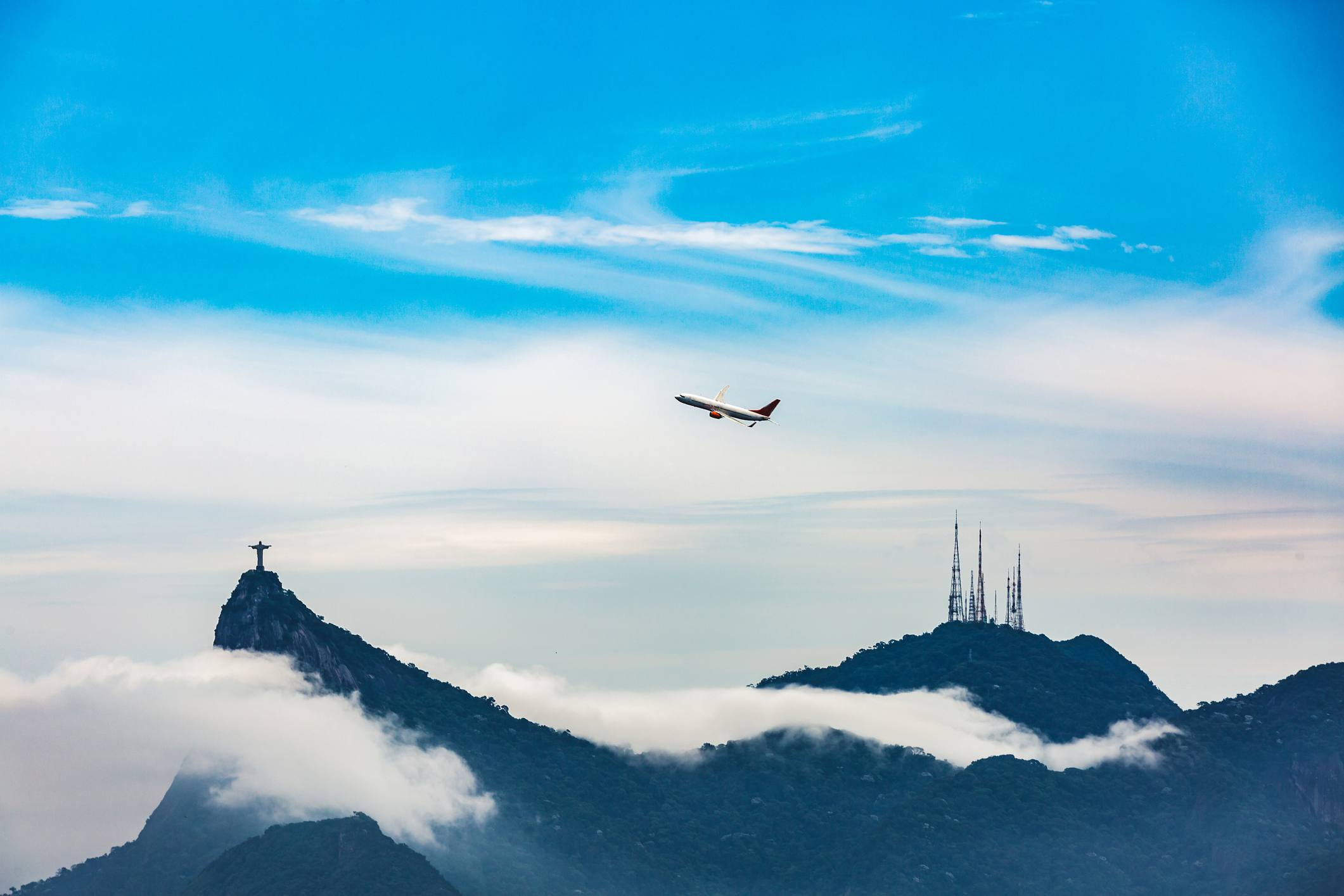 View of Cristo Redentor and airplane, Brazil