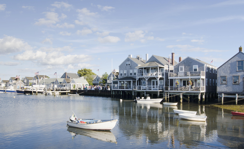 Houses overlooking the Old Wharf, Nantucket island