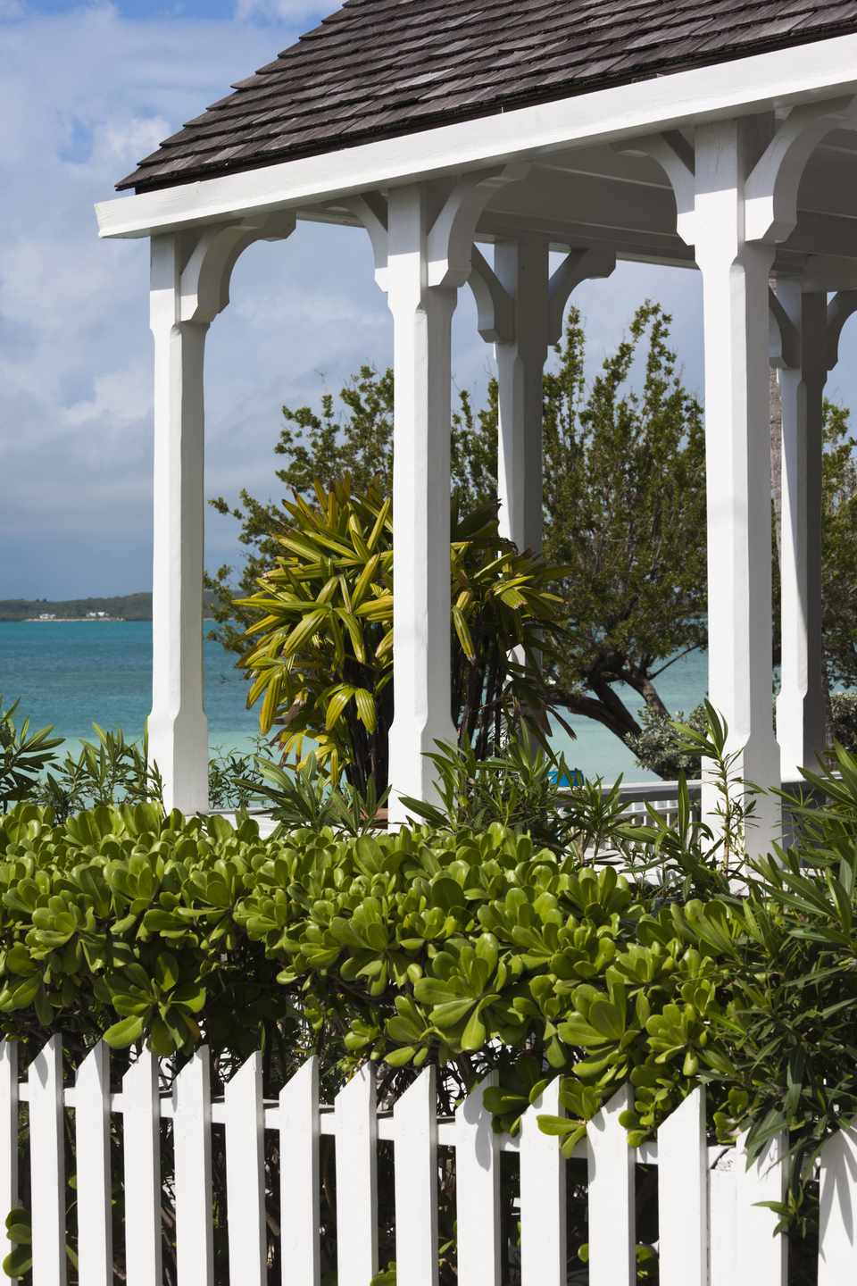 Caribbean view from Harbour Island porch in the Bahamas