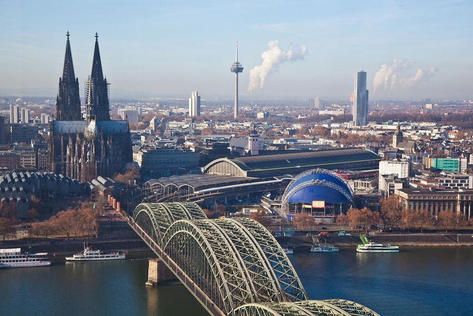 Cologne skyline with cathedral and main station