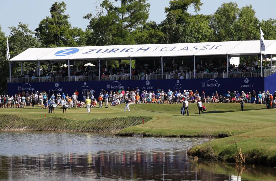 General view of the 17th green during the final round of the Zurich Classic at TPC Louisiana on April 29, 2018 in Avondale, Louisiana.