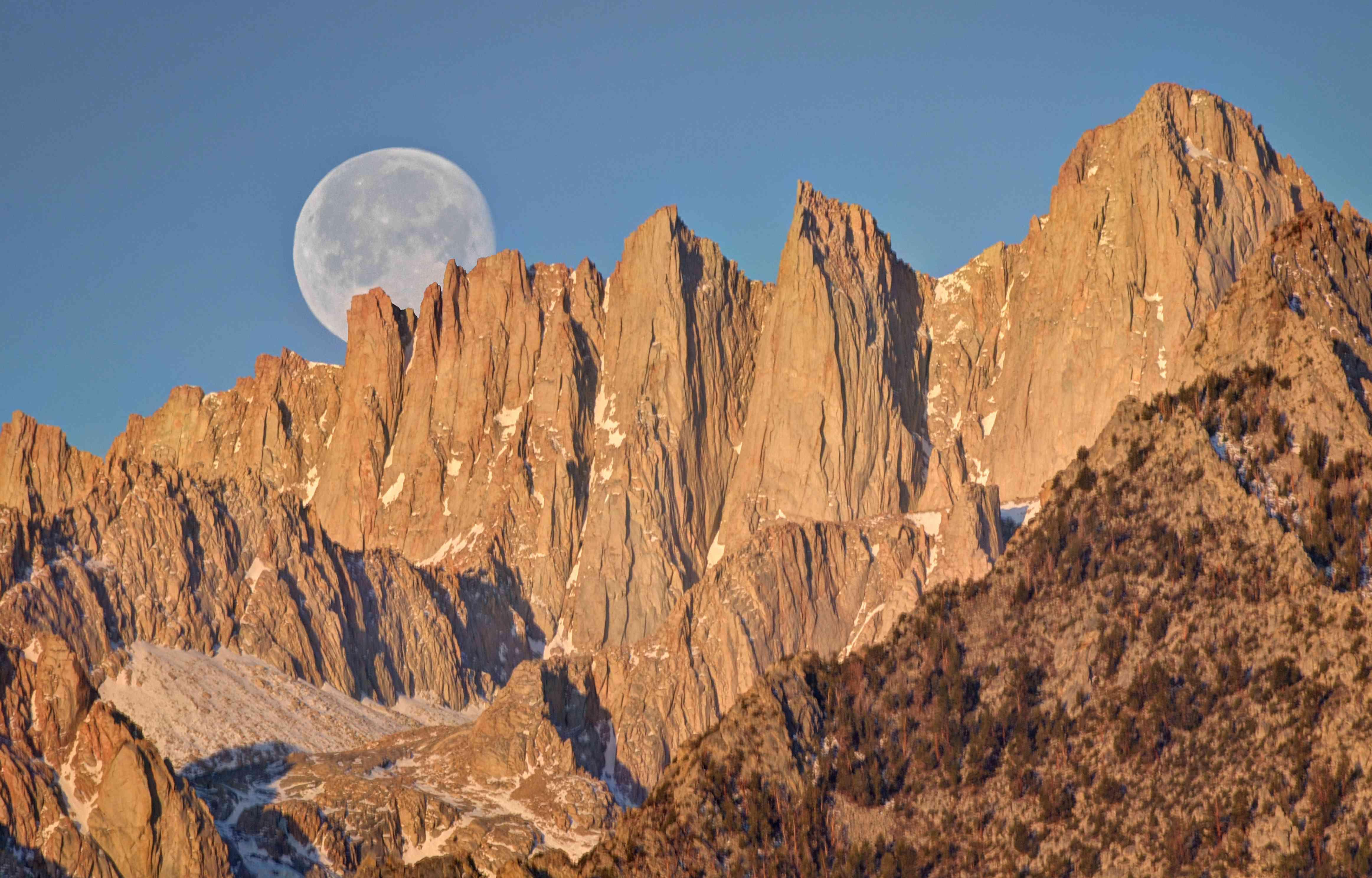 Moon setting Over mount whitney, California, America, USA