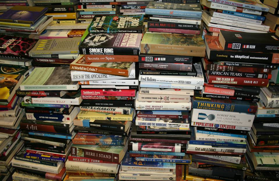 Stack of books in Gould's Book Arcade, Newtown, New South Wales (NSW), Australia.