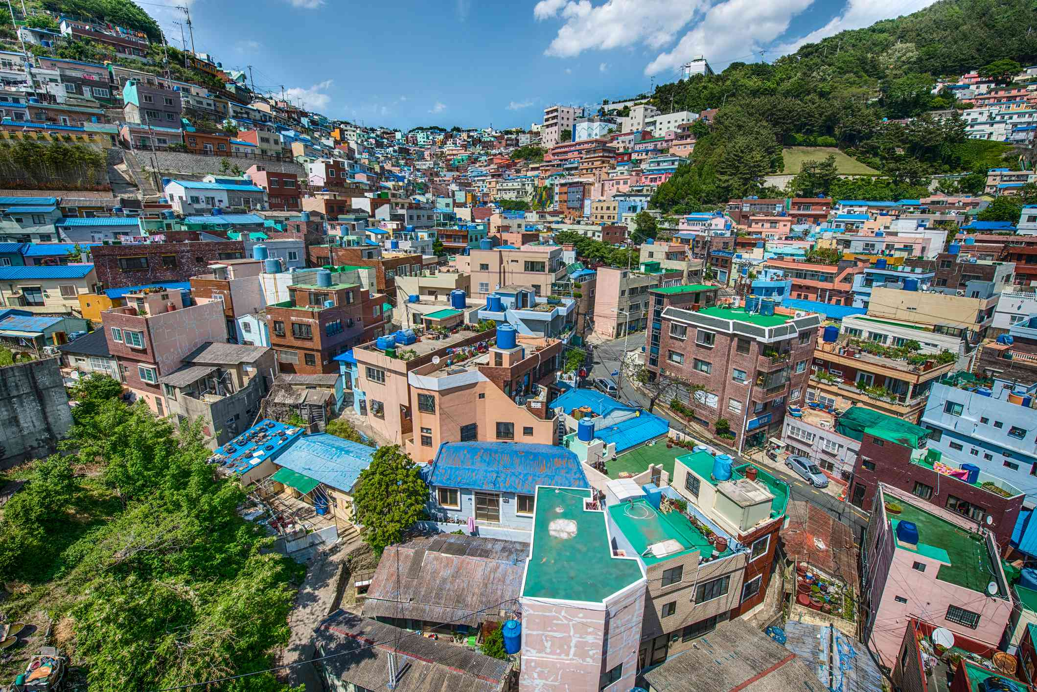 View of the colorful roofs in the Gamcheon residential district, Busan, South Korea