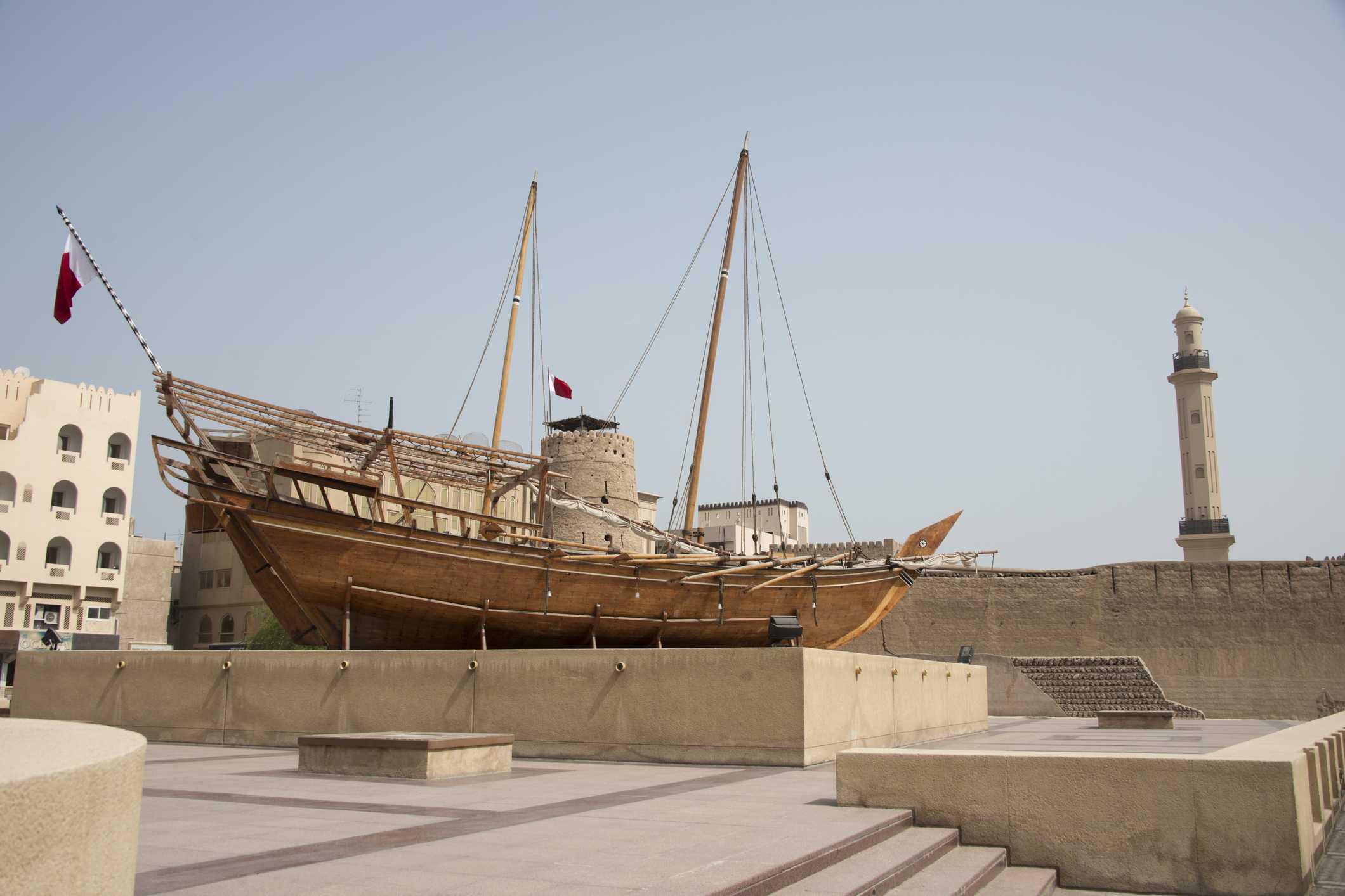Traditional Arabic Dhow at the Dubai Museum, Dubai, United Arab Emirates