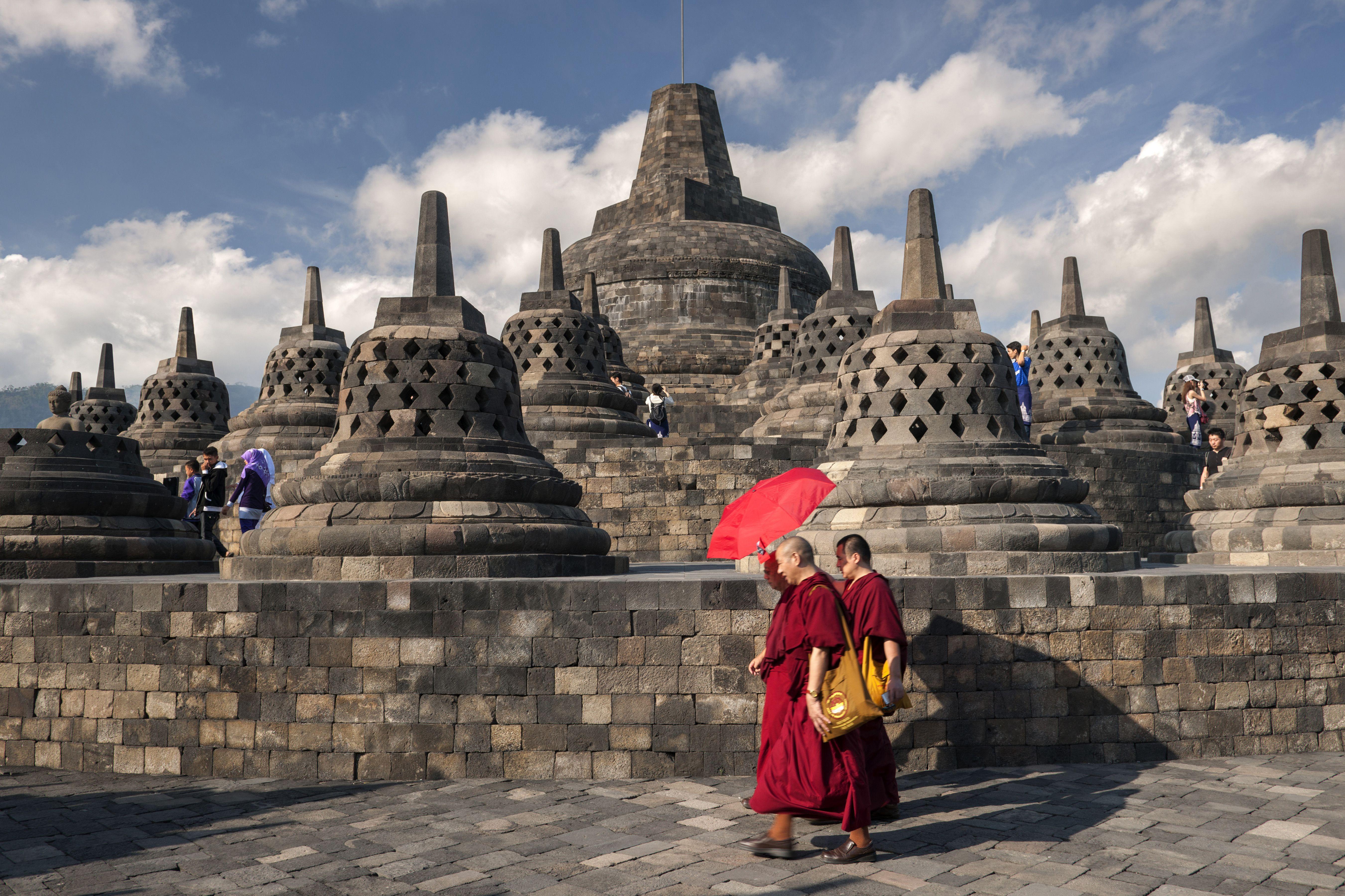 Borobudur temple complex in Java, Indonesia