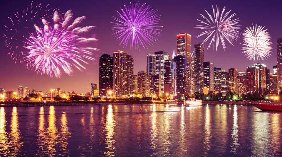 Chicago skyline on the night for the new year